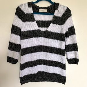Zara Knit Black and White Striped Sweater